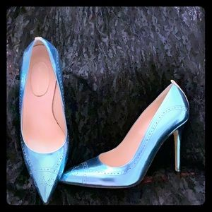 SJP Blue Metallic Closed Toe Heels Size 36.5